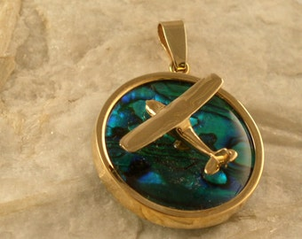 14kt or Silver Abalone Piper Airplane Pendant