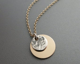 Gold Disc Necklace Mixed Metals Necklace