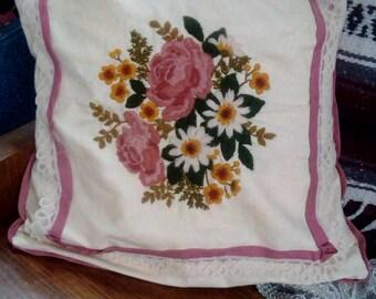 Handmade Vintage Needlepoint Pillow
