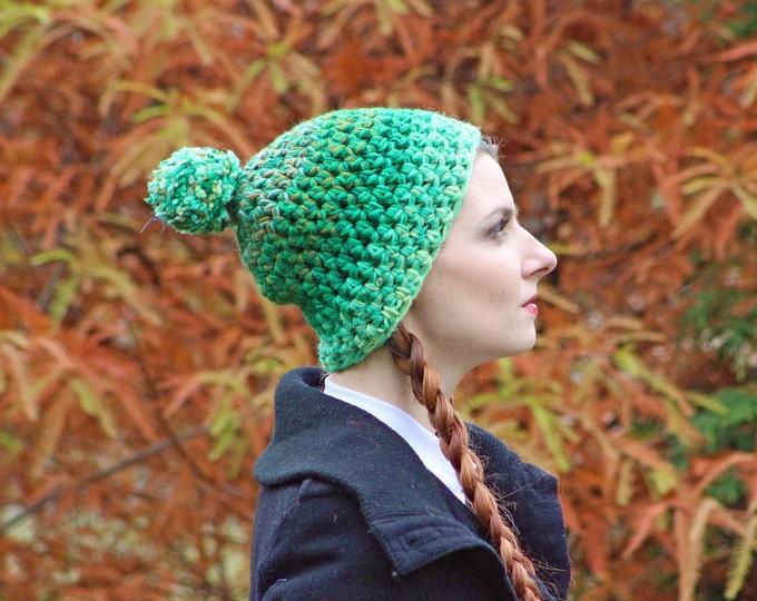 Green Ombre Elf Hat Pom Pom Beanie Hat Crochet Handmade Gift for Him or Her