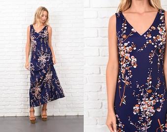 Vintage 70s Navy Blue Mod Dress Pink Floral Leaf Print A Line Boho Small S 10389