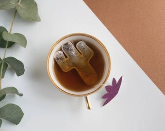 Cactus shaped tea bags - Travel / Summer / Holidays / Mexico / Tropical / Desert / Vegetal / Nature / Green