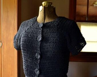 Black Cardigan Crochet Cardi Short Sleeve Cropped Cardigan Sweater Ladies Sweater