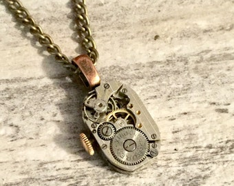 Steampunk Watch Movement Pendant, Steampunk Jewellery, Steam punk Necklace, Repurposed Jewelry by One Stop Steam Shoppe in Canada
