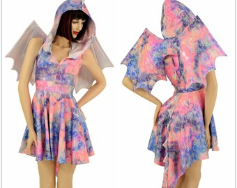 Winged Pastel Python Sleeveless Zipper Hoodie Skater Dress with Dragon Tail Hemline, Flashbulb Spikes & HoodLiner WINGS INCLUDED 154929