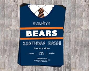 Printable Ditka Birthday Party Invitation // Chicago Bears Birthday // Boys Birthday Bash // Football Birthday Invite
