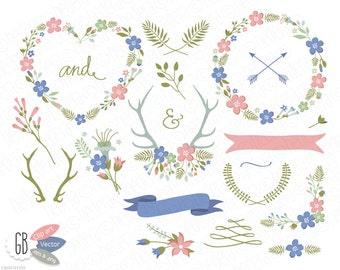 Folk flower wreaths, laurels, borders, clip art, heart shaped wreath, vector graphics, wild flowers, antlers, arrows, spring pastel colors