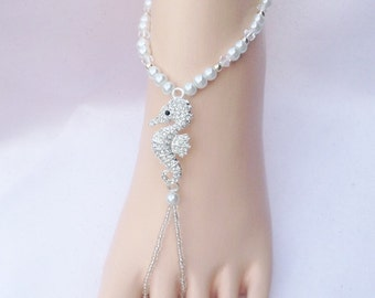 Seahorse Barefoot Sandals,  Beach Weddings, Foot Jewelry, Bridal Foot Jewelry