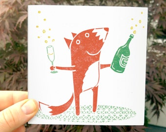 Foxy Congratulations - Greetings Card -  Mr fox with a bottle of bubbly champagne unusual fun shabby chic wedding birthday