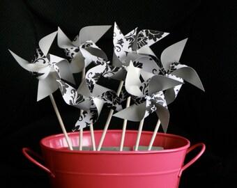 Favor 12 Mini Damask and Silver Spinnable Pinwheels (Custom orders welcomed)