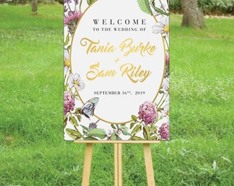 HONEYBEE SUITE - Printable Custom Wedding Reception Sign Poster | Rustic Florals Bees & Butterflies | Faux Gold Foil Calligraphy