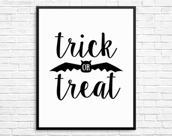 Halloween Poster, Halloween Printable Decor, Trick or Treat sign, Halloween Wall Art, Halloween Party Instant Download Printable