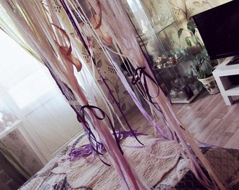 Queen Bed Canopy - Gypsy Bedroom Decor - Bohemian Bed Crown - Dreamcatcher Canopy - Bed Tent - Boho Bedding - Girls Bed Lace Canopy