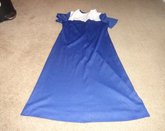Vintage size Small Cotton dress Blue 36 inch bust 43 inch lengthdresses- clothing- boho dress-