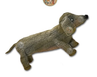 Toy Dog to Knit - Desmond the Dachshund - Vintage Digital Pattern - PDF Instant Download - PrettyPatternsPlease