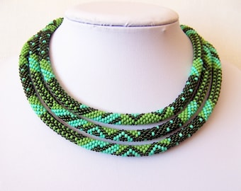 Long Beaded Crochet Rope Necklace - Beadwork - Seed beads jewelry - Elegant - Geometric  - Patchwork - Green - Lime green - Turquoise