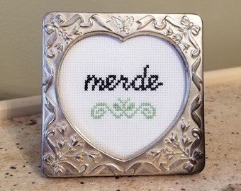 Merde funny French framed cross stitch