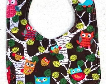 Owl Baby Bib - Infant Bib - Owls - Baby Shower Gift - Bird - Dribble Bib