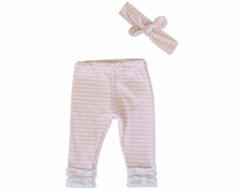 Baby Girl Going Home Outfit - Pink Lace - Baby Girl - 2 Piece