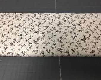 no. 982 brown/cream mdg floral vine Fabric by the yard