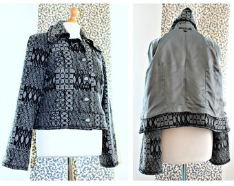 Designer Jacket Retro Blazer Cropped jacket Grunge clothing Hipster Boho Office wear Metal buttons Wool jacket Ladies jacket Overcoat Casual