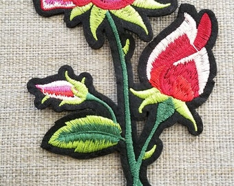 Embroidered iron on pink flower patch #6C0941A