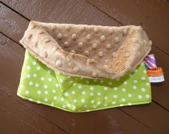 Snood neck warmer kids green taupe and white polka dots