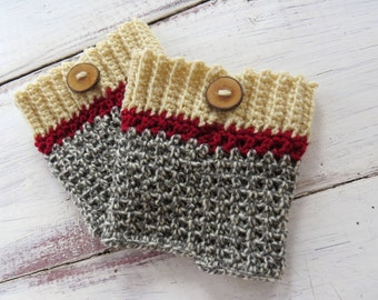 MADE TO ORDER Womens Crochet Boot Cuffs Handmade Boot Toppers Sock Monley Grey Wood Button