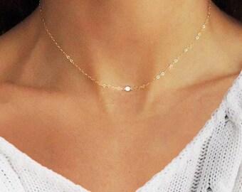 Diamond Choker, Tiny Diamond Choker, Diamond Necklace, Dainty Diamond Necklace, Gold Diamond Necklace, Silver Diamond Necklace, Necklace