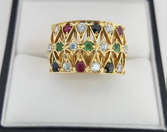 14ct Yellow Gold Ruby, Sapphire, Emerald & White Sapphire Ring Vintage