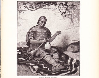 1882 Native American Indian Print - Navajo Woman Spinning - Antique Art Illustration Book Plate History Archaeology Ethnology 100 Years Old