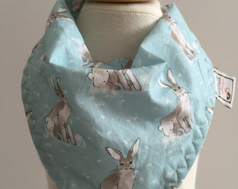 hare day in aspen  ~ bandana bib ~ drool bib ~ cottontail collection ~ hawthorne threads ~  ~ bunny bandana bib from lillybelle designs
