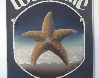 Handpainted Personalized Starfish Nautical Slate Welcome Sign