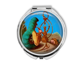Alice In Wonderland Smoking Caterpillar Compact Mirror Pocket Mirror Large Gifts for her