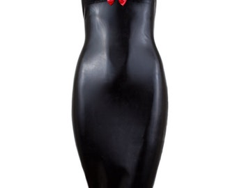 SAMPLE XS Latex Halter Fishtail Dress with Bow
