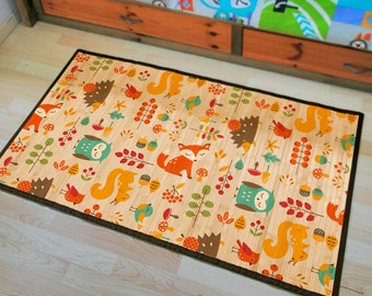 Printed Bamboo carpet, Bamboo mat - colorful animals, cute illustratons for kids.
