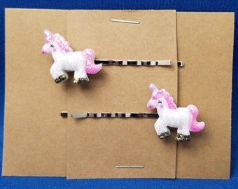 UNICORN Fantasy Animal Bobby PIns Hair Clip Accessory - Set of 2 Handmade