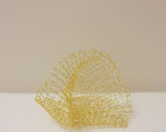 Small Gold Crochet Sculpture