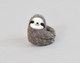 Sloth needle felting kit, needle felting starter kit, sloth DIY craft kit for adult, gift for her, sloth gift