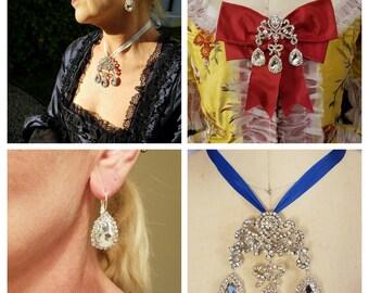 18th Century -  Georgian Parure -  Brooch/ Pendant and Earrings  - Rococo  - Paste Jewelry - Marie Antoinette Jewelry