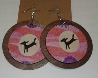 Double Decker Wooden Disc Earrings