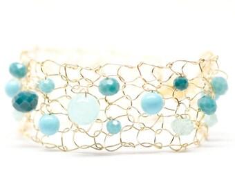 mermaid bracelet, beaded bracelets, dainty bracelet, gold cuff bracelet, skinny cuff bracelet, unique handmade gift, knit jewelry, summer