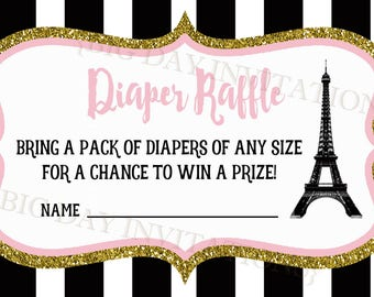 Paris Eiffel Tower baby shower diaper raffle card insert to match invitation - digital printable file only