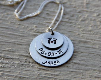 Unique Gift for New Mom/Grandma-Jewelry- First Mothers Day Gift-Personalized Hand Stamped Jewelry - Mommy Brag Necklace