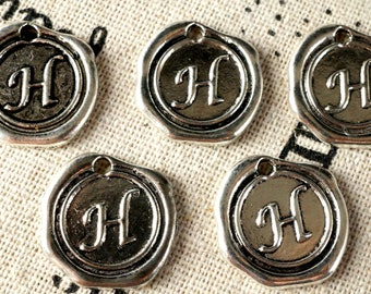Alphabet letter H wax seal charm silver vintage style jewellery supplies