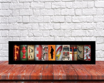 Firefighter Letter Art, Firefighter Sign, Firefighter Graduation Gift, Christmas  Gift, Fireman Gift, Firefighter Wall Art, Firefighter Gift