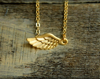 Little Angel Wing Necklace, Available  in Matte Silver and Gold, Detailed Angel Wings, Bird Winged Flight, Remembrance Gift