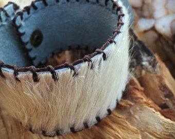 Leather Cuff Bracelet - Inner Suede - White Fur Hide - Brass Finish Studs- Boho
