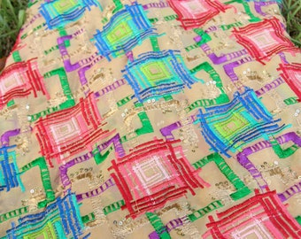 "Decadent Diamonds Embroidered Silk Fabric from Rajasthan, India Textile, Colorful Wall Hanging, Boho Home Decor, Sewing Supply, 44"" x1 yard"
