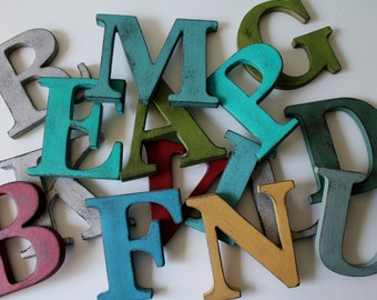 "Multiple 3.5"" Vintage Style Letters.  Hand painted and distressed."